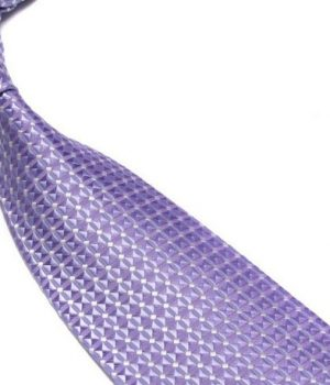 Quality Pure Silk Tie – Lilac Diamonds