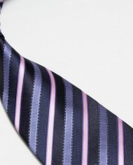 Quality Pure Silk Tie – Navy Light Blue & Pink Stripes