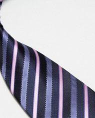 Quality Pure Silk Tie – Navy Light Blue & Pink Stripes