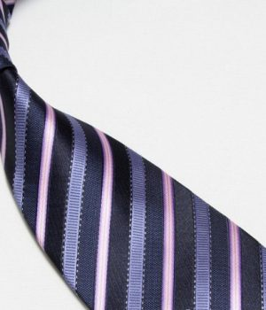 Quality Pure Silk Tie - Navy Light Blue & Pink Stripes