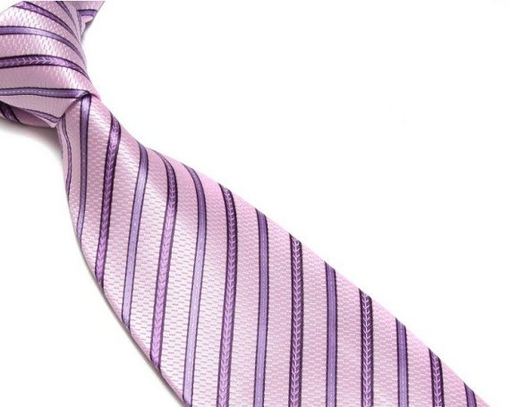 Quality Pure Silk Tie – Pink & Purple Stripes
