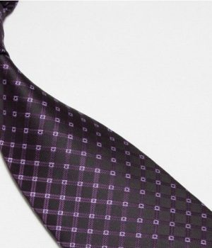Quality Pure Silk Tie – Purple Diamonds