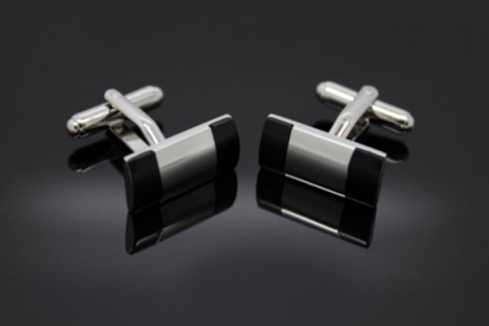 Silver Black Stone Cufflinks