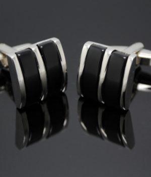 Silver Black Stone Stripe Cufflinks