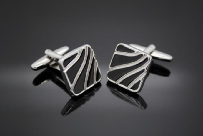 Silver Black Swirl Cufflinks