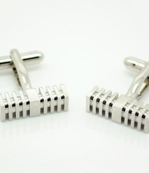 Silver Square Rod Cufflinks
