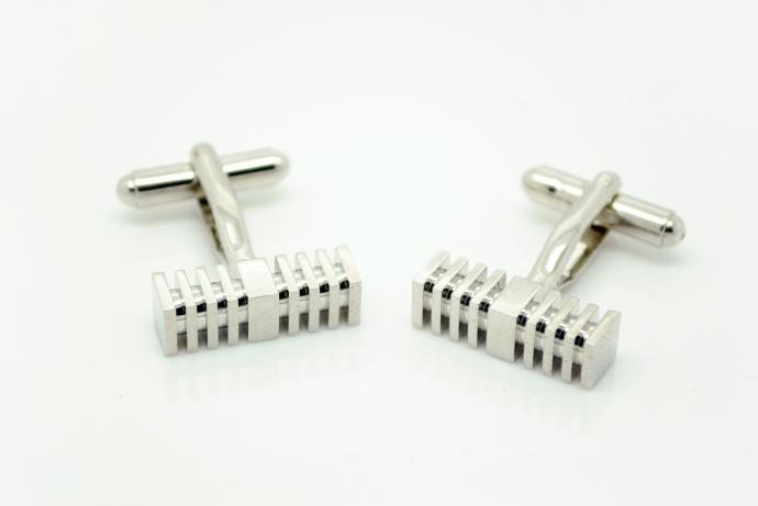 Silver Square Rod Cufflinks