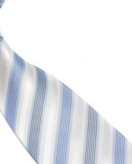 Quality Pure Silk Tie – White & Light Blue Stripes