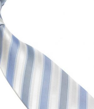 Quality Pure Silk Tie - White & Light Blue Stripes