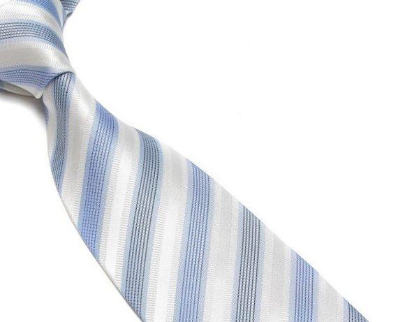 Quality Pure Silk Tie - White & Light Blue Stripes
